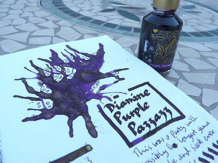 This is the Diamine Shimmertastic fountain pen ink in Purple Pazzazz. Click through for the full review.