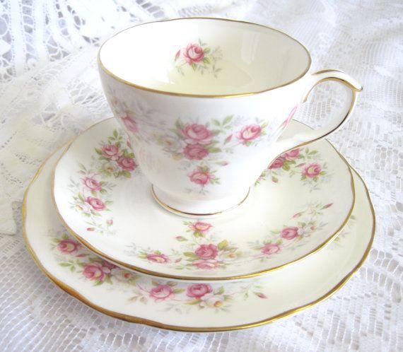 "Vintage China Tea Trio, Duchess, ""June Bouquet"" REDUCED SALE PRICE"