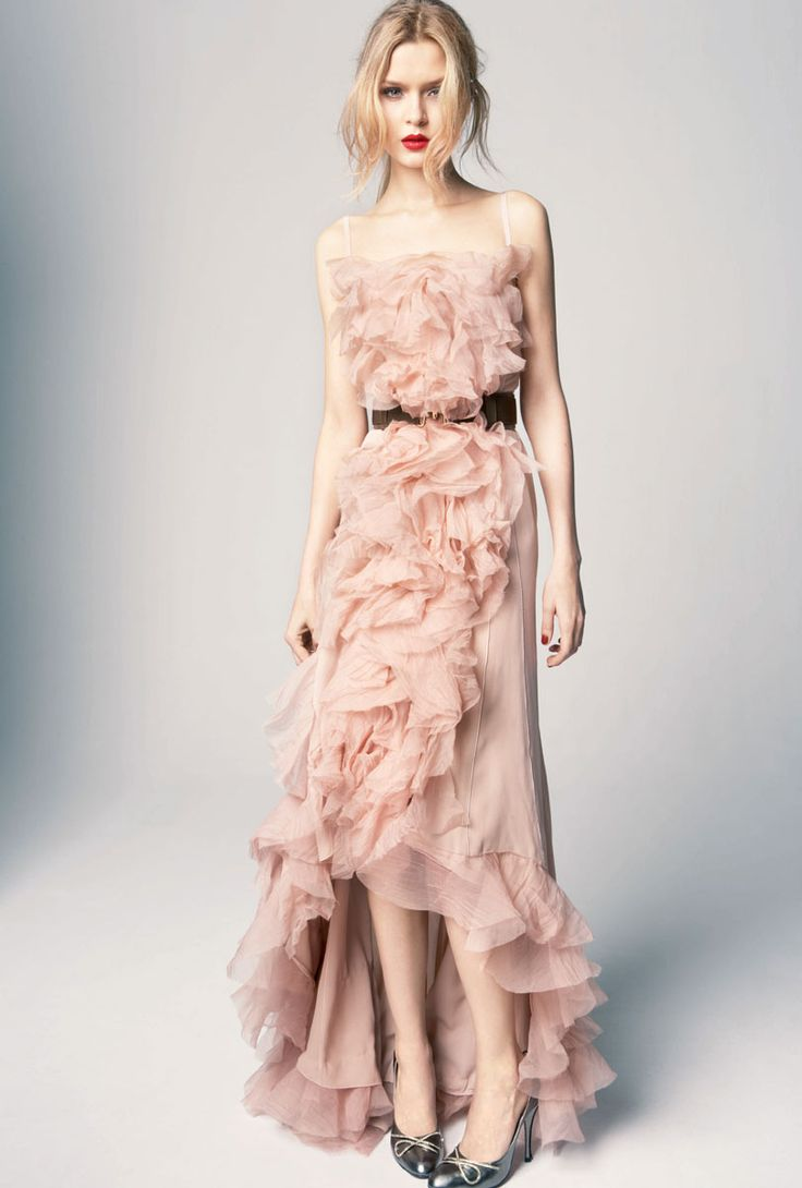 This one might be my favorite.  Bridal Pink - pink wedding dress with ruffles - Nina Ricci 2012