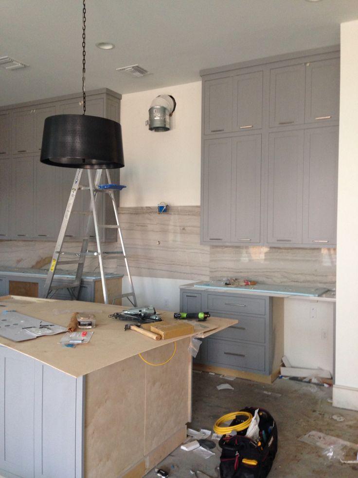 Custom kitchen cabinets Benjamin Moore Storm