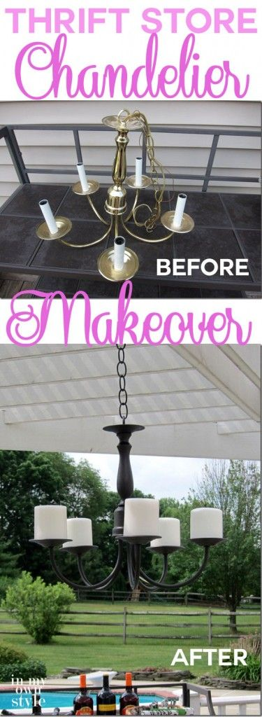 Before and After: Dated Brass Chandelier to Outdoor Candle Chandelier | InMyOwnStyle