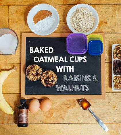 Busy mornings? Make them easier with these baked oatmeal cups with walnuts and raisins. Oatmeal is high in soluble fiber, which helps with digestion, metabolizing carbs, and it can help lower cholesterol. Make these ahead of time for the whole week...they freeze well so they're great for meal prep! // beachbody // beachbody blog