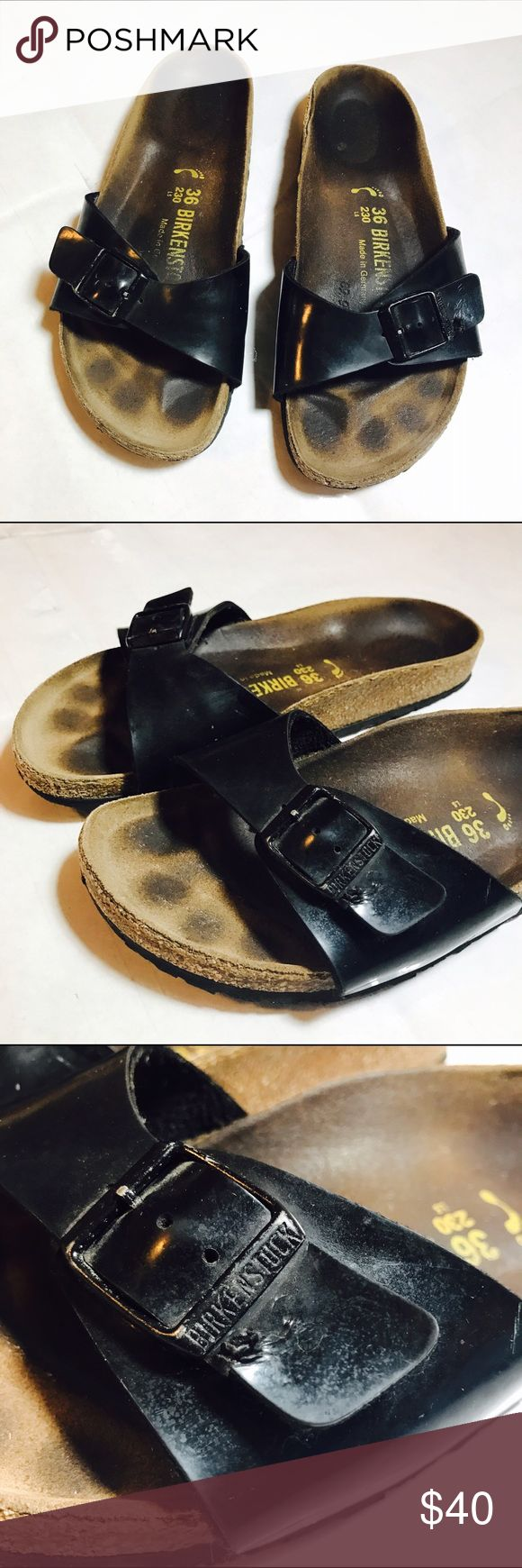 BIRKENSTOCK MADRID BLACK PATENT SANDALS PATENT leather Birkenstock, have some wear on them as you can see in the photos but still a ton of life left! Size 36 =5.5/6 US Birkenstock Shoes Sandals