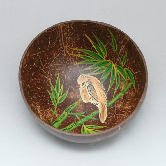 Lacquered coconut shells bowl by Namigurumi on Etsy, $4.50