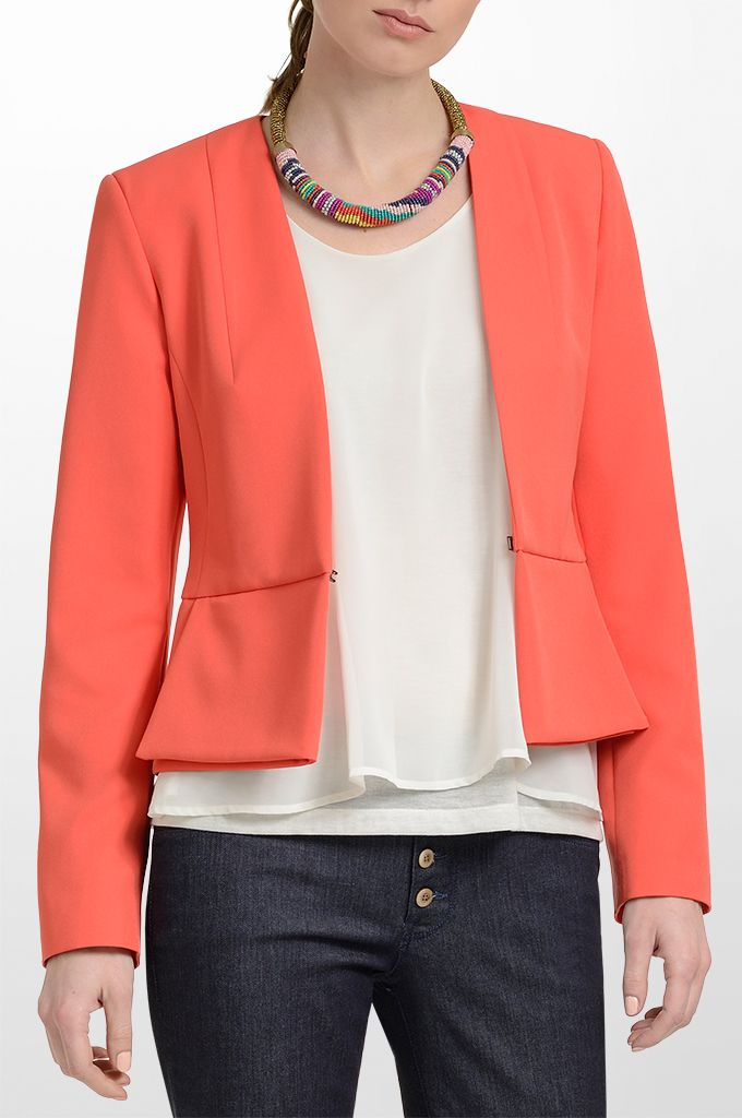 Sarah Lawrence - long sleeve blazer with hidden button, sleeveless double layered top, flare denim pant, beaded necklace.