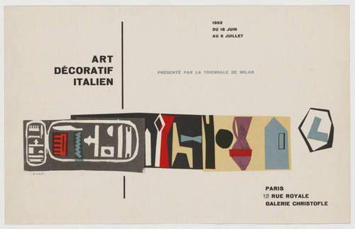 MoMA   The Collection   Marcello Nizzoli. Art Décoratif Italien. 1952