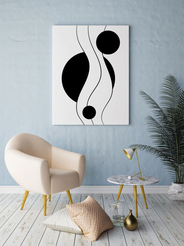 Minimalist Abstract Geometric Wall Art Print In Black And White By Lineprintable Great Pie Wall Prints Living Room Wall Graphics Design Wall Decor Printables
