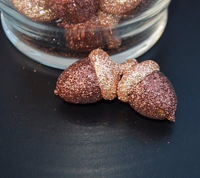 Add glitter to acorns, pumpkins, leaves or anything else fall.
