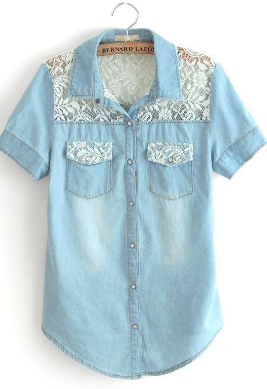 Blue Short Sleeve Insert Lace Pockets Denim Blouse
