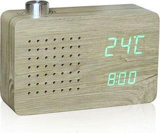 Gingko Gingko Radio Ash Click Clock (Holz)