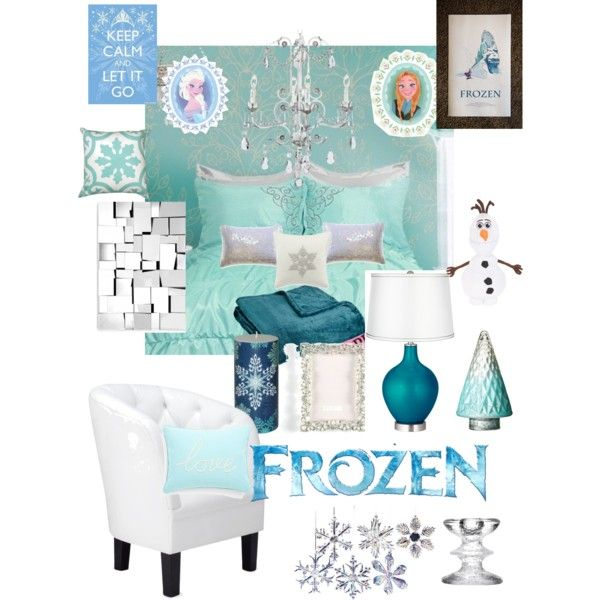 Disneyhome- Frozen Elsa inspired Teen bedroom, created by rachel-surrette on Polyvore