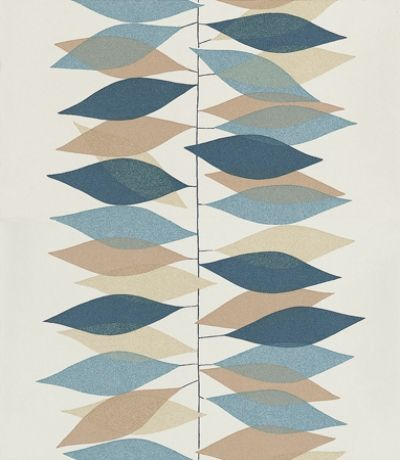 Miro (210230) - Sanderson Wallpapers - Hand drawn vertical lines with leaf shapes, placed as made of tissue paper to create a strong stripe effect. Shown in the pebble/navy on an off white. Other colourways available. Please request sample for true colour match.