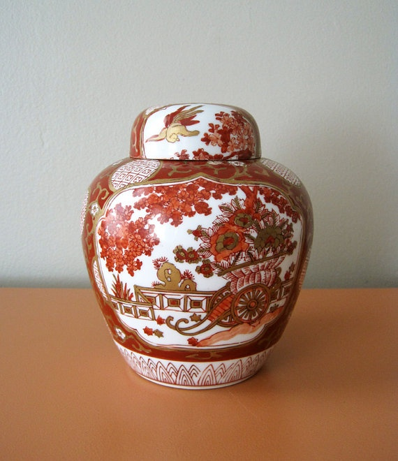 Chinoiserie Imari Ginger Jar Red and Gold by behindtheorangedoor, $40.00