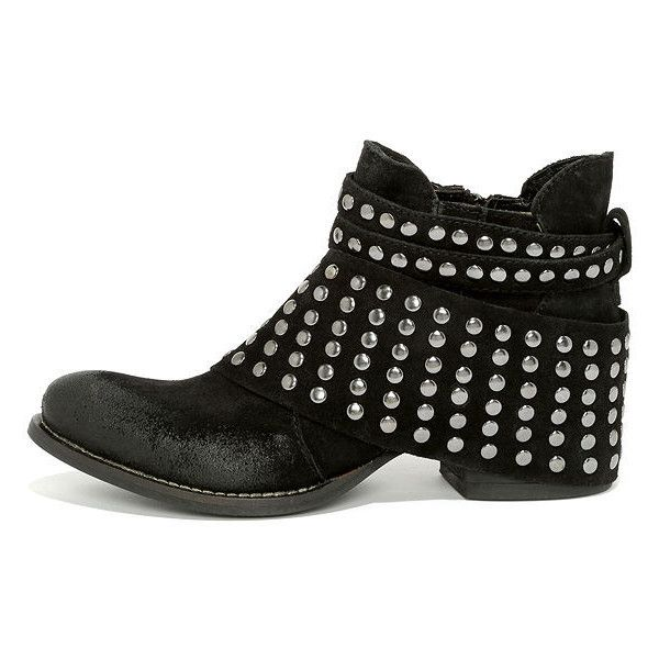 Matisse Reno Black Suede Leather Studded Ankle Boots found on Polyvore.