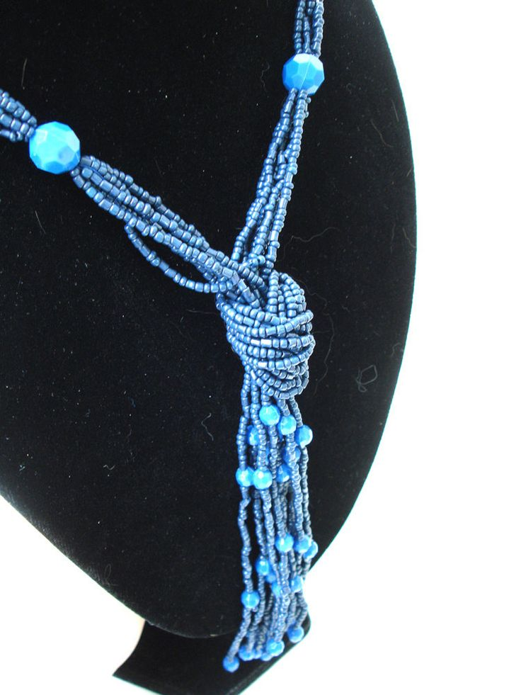 Blue multistrand beaded necklace