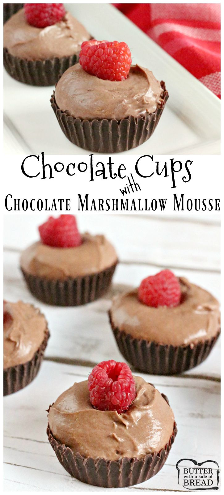 Show stopping dessert with little effort- Chocolate Cups filled with Chocolate Marshmallow Mousse is incredible! Butter With A side of Bread via @ButterGirls