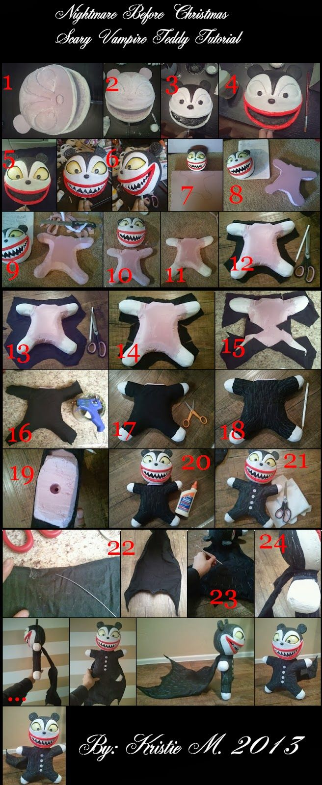 DIY Nightmare Before Christmas Halloween Props: Nightmare Before Christmas Scary Vampire Teddy Toy Tutorial