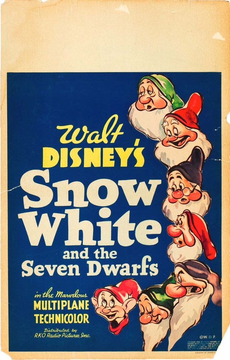 SNOW WHITE AND THE SEVEN DWARFS window card, 1937.