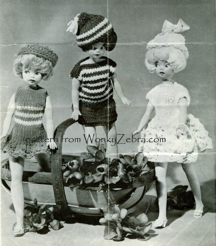 """Teen doll knitting pattern  """"well dressed doll"""" from a """"Weekend"""" magazine. Several nice dresses and little outfits ( see other pins on this board) PDF from WonkyZebra WZ 736"""
