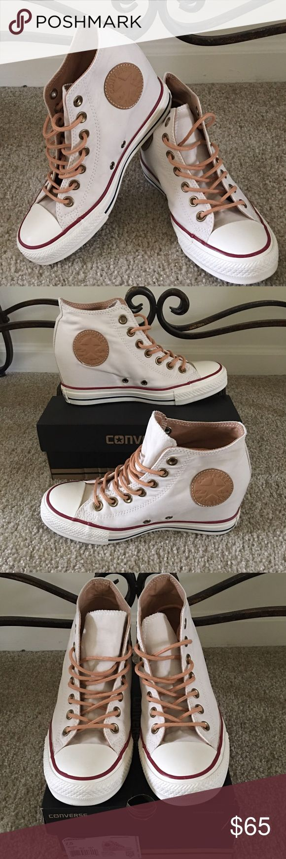 Converse Chuck Taylor Lux Mid  Brand new with box  It has a hidden 2 1/2 inch wedge, canvas lining and cushioned footbed. Converse Shoes Sneakers