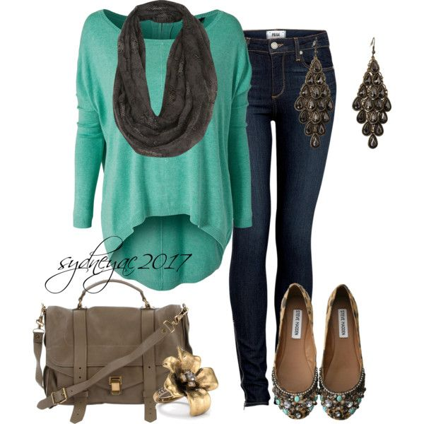 This is adorable. Fabulous Fall outfit. I do believe this is a mintish green:)