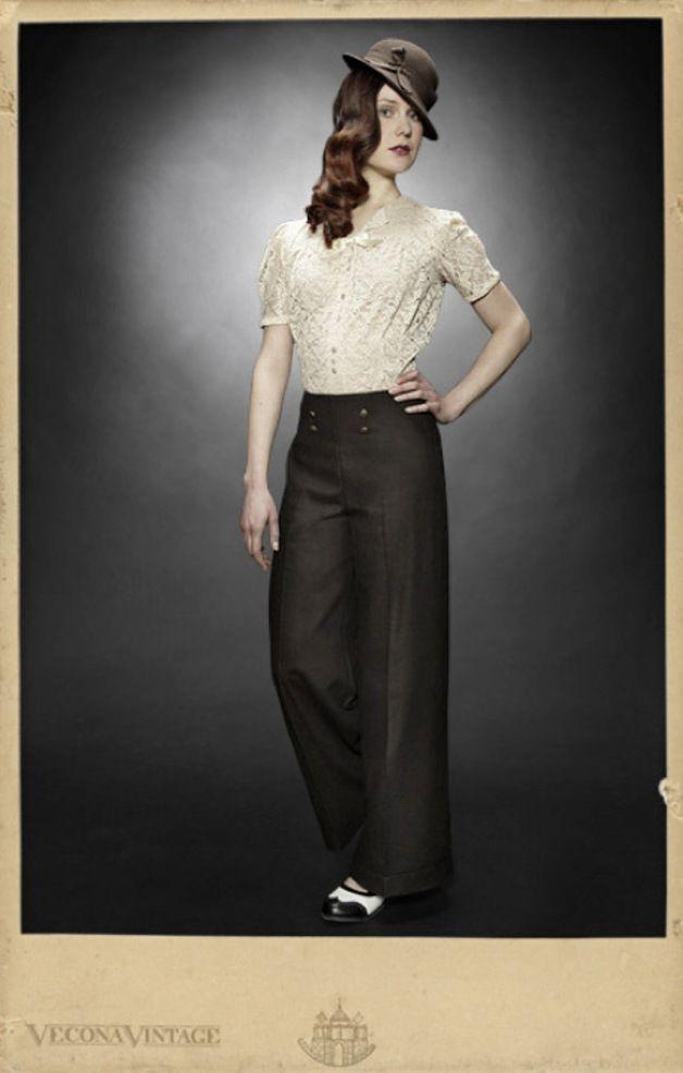 Businesshosen - VECONA VINTAGE Tweed Marlenehose Wolle Elegant - ein Designerstück von Vecona-Vintage bei DaWanda