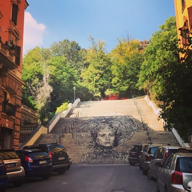 What a beautiful #mural in Trastevere #groundmural #streetart