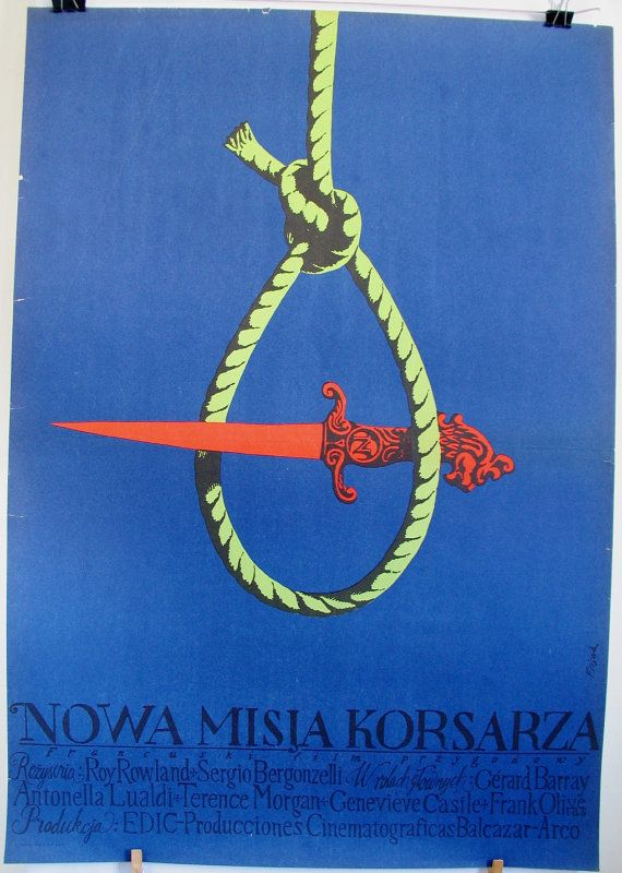 Very old poster. Spain, Italy, France (1966) film 'The Sea Pirate' (USA). Polish poster by Jerzy Flisak (1970). Retro movie poster