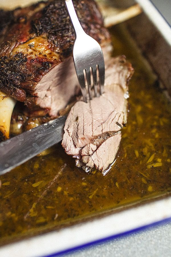 Slow cooked Greek style lamb shoulder with rigani (Greek Oregano) and red wine vinegar