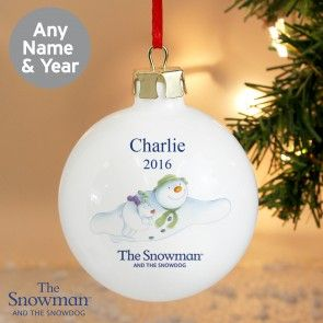 Personalised The Snowman and the Snowdog Flying Bauble