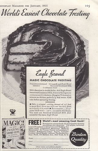 # I love vintage recipes from my dads generation.. #Eagle Brand Magic Chocolate Frosting~1935