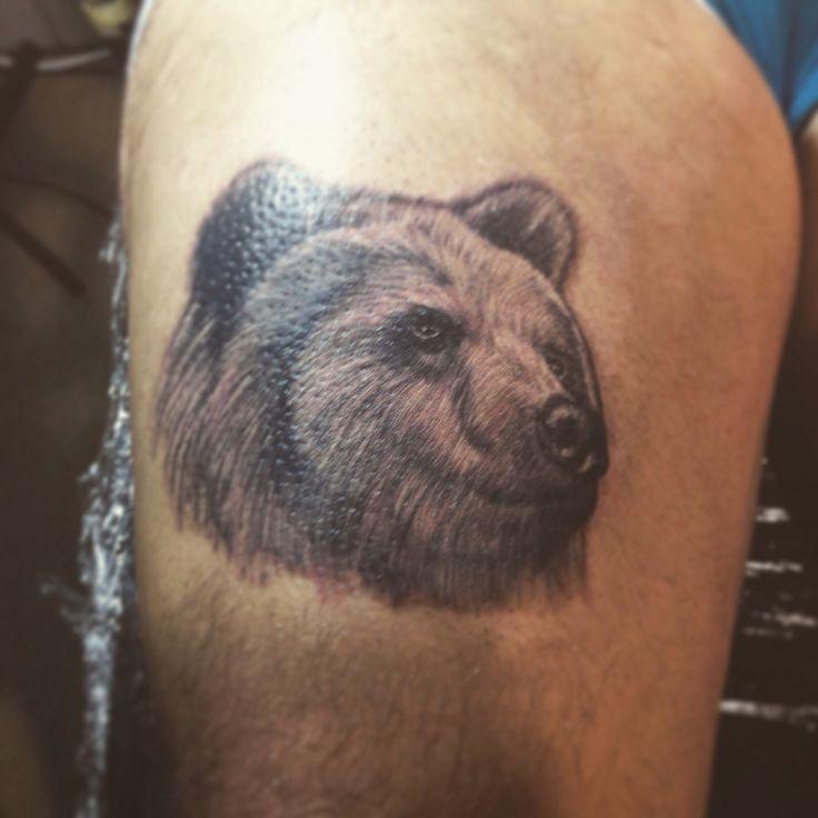 Realism bear tattoo done at Leeds international tattoo expo 2016   Artist-Debbie Jones tattoos