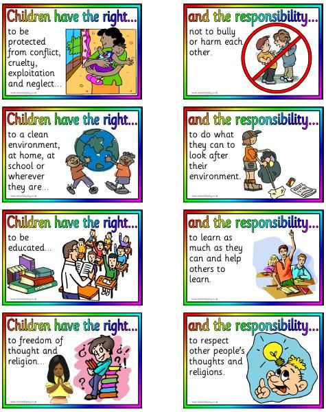 "Children's Rights and Responsibilities. Sometimes children take their ""rights"" for granted and forget that they actually have ""responsibilities"" that go hand in hand. To be an active citizen you have to take both your rights and responsibilities into consideration."