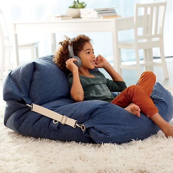 Shop Kids Blue Bean Bag Bed Chair.  It's a bean bag chair.  It's a floor cushion.  Wait, it's both? Our adjustable bean bag chair does double duty, thanks to the unique design.