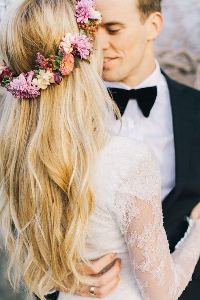 1001 Idees Pour La Coiffure Mariage Boheme Parfait Coiffure Mariage Couronne De Fleurs Cheveux Coiffure