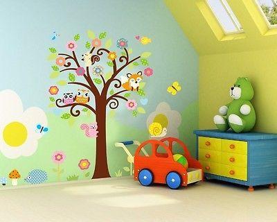 Extraíble Wallpaper grandes Buhos árbol pegatinas de pared para salas de niños de Casa