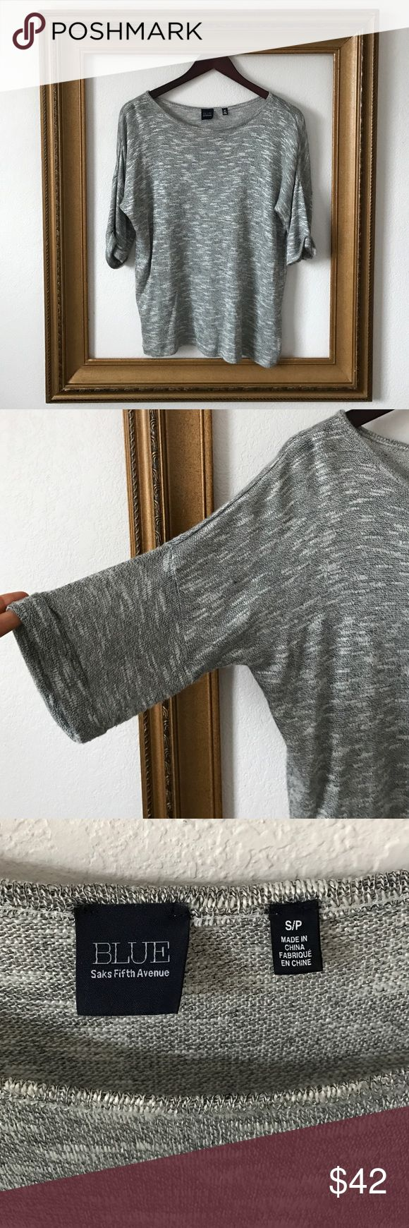 BLUE Saks Fifth Avenue grey slouchy top, S SO soft! Beautiful top, sleek, chic, gorgeous! In great condition. No signs of wear! Slight sheen. Saks Fifth Avenue Tops