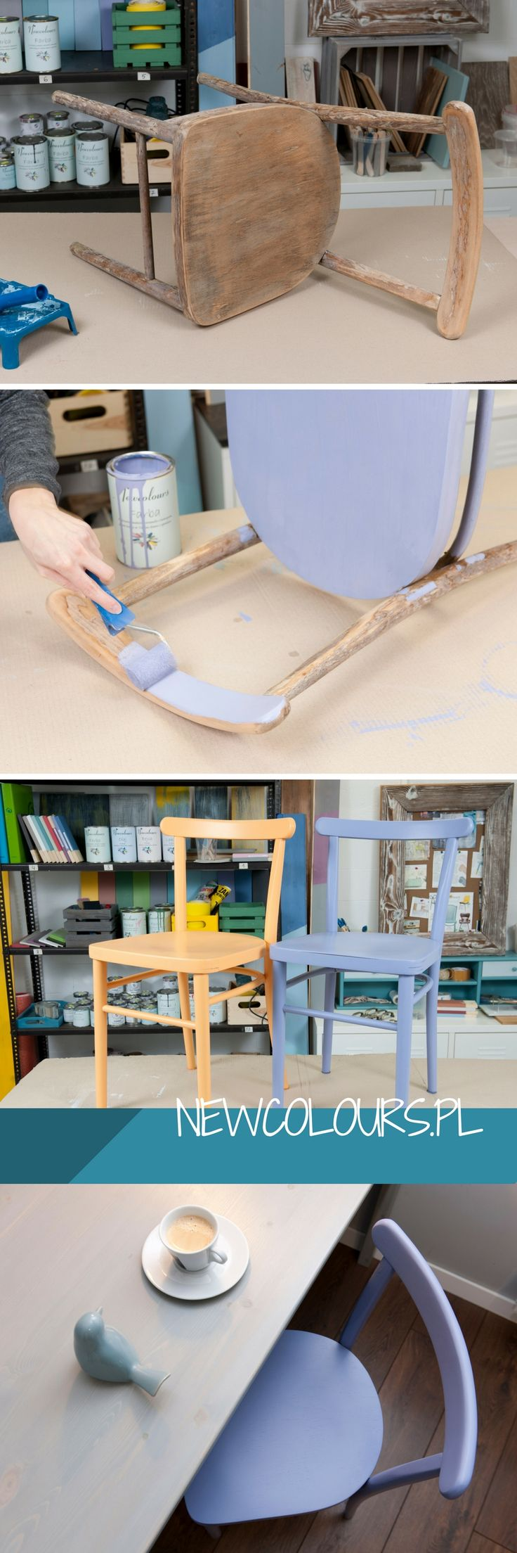 Stare krzesełko na fioletowo. Farba Newcolours :) Old chairs in violet. Newcolour Paints. DIY