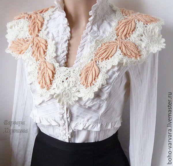 Купить Вязаный кружевной воротник-пелерина - специальная рубрика, зимняя мода, зимняя мода 2016