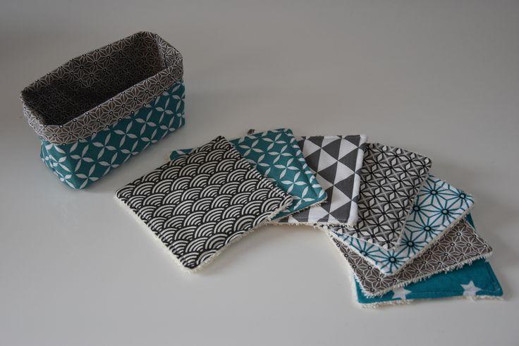 Lot de 7 lingettes lavables + panier de rangement - Eponge et tissu coton - Tons gris, vert turquoise et blanc : Soin, bien-être par aw-creations