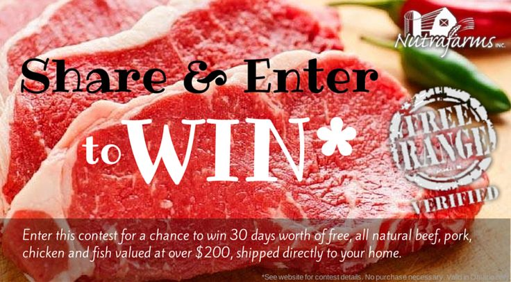 Share and Enter To Win 30 Days Of Meat from NutrafarmsToronto.com