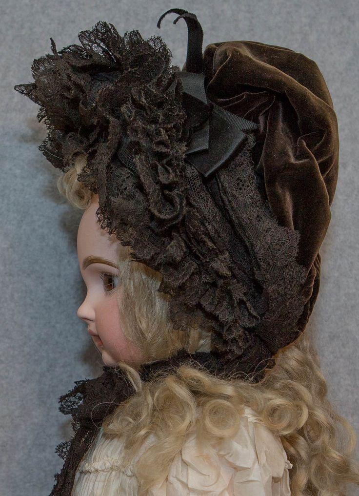 """Fancy """"Labeled Paris"""" Antique Lace Velvet Doll Bonnet Jumeau Bebe Poupee French   Dolls & Bears, Dolls, Antique (Pre-1930)   eBay!"""