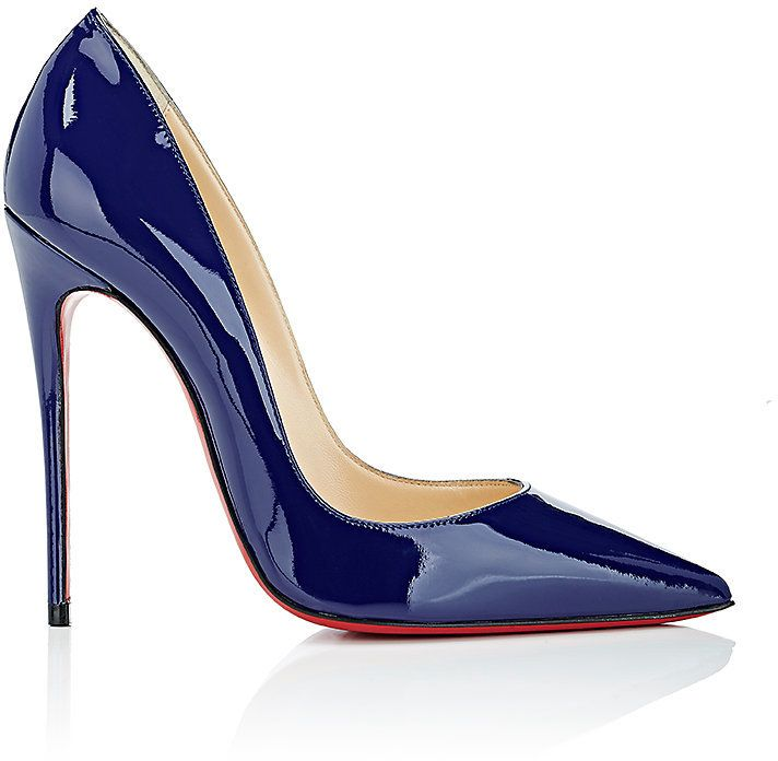 """Christian Louboutin's So Kate pumps are crafted of blue patent leather. 4.75""""/120mm heel (approximately). Pointed toe. Patent-leather-covered signature slim stiletto heel. Slips on. Lined with smooth leather. Signature red leather sole. Available in Encre (blue). Made in Italy.;PATENT LEATHER"""
