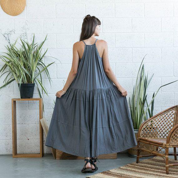 SALE  50 Off SALEEmbroidered Maxi Dress Grey Maxi Dress by Naftul