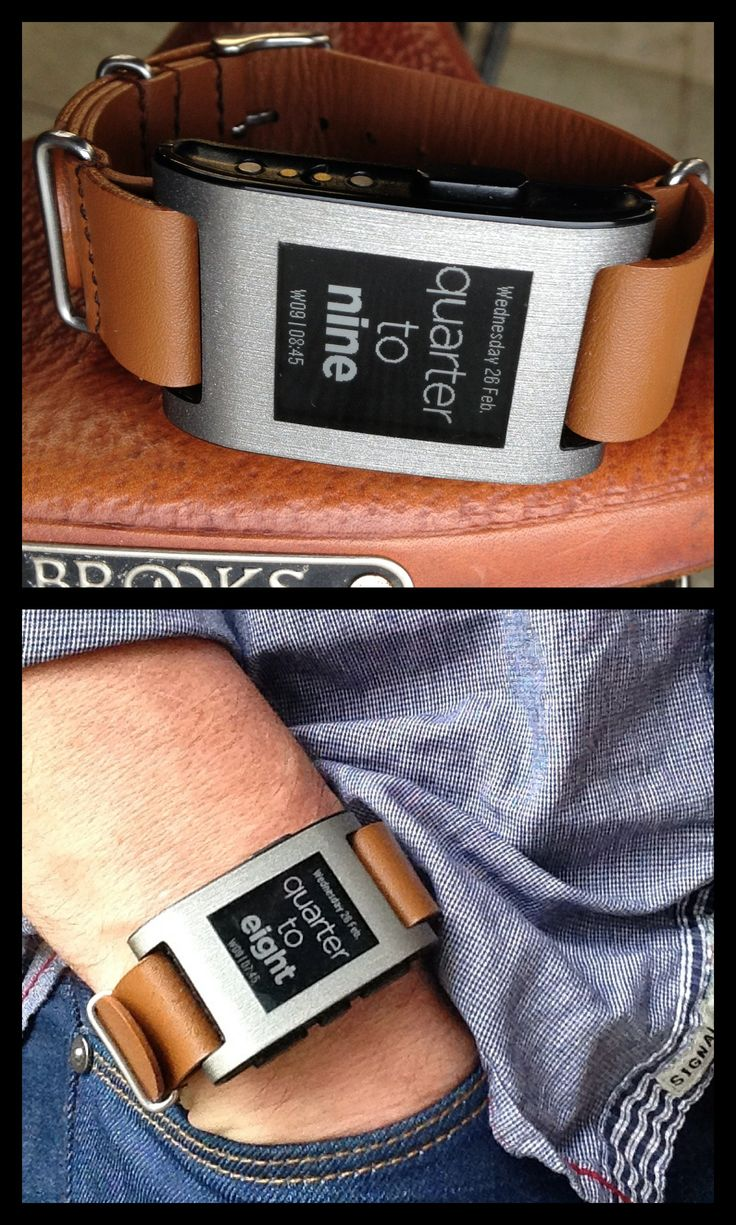Pebble with tan NATO watchstrap and Fuzzy English Plus watchface