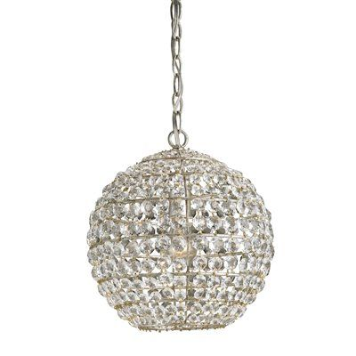 Currey & Company 9005 Roundabout Large Pendant, Silver Leaf