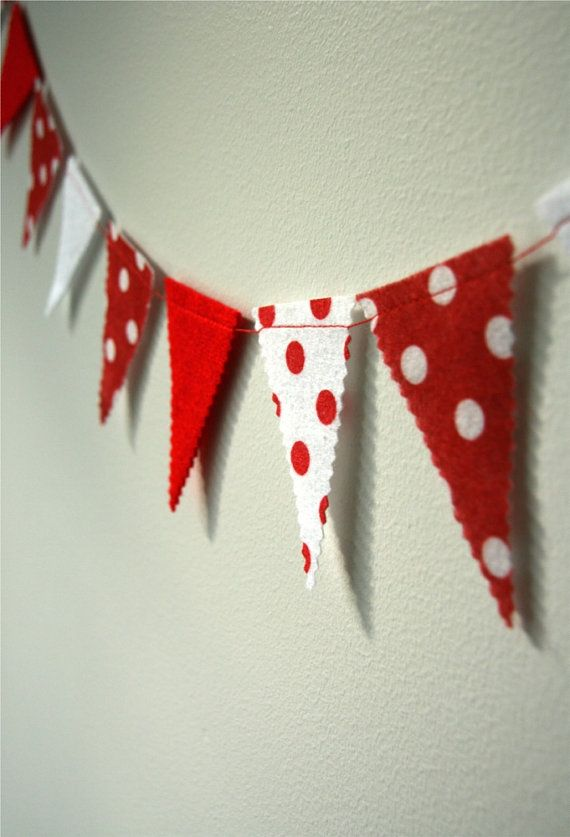 Red and White Polka Dot Felt Bunting Garland by lesalikes on Etsy, $15.00