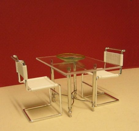 elf furniture. glass and chrome dining table elf miniatures elf furniture m