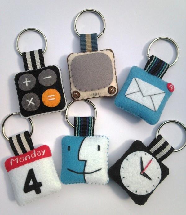 Llaveros de fieltro inspirado en los iconos de Apple, un regalo ideal :)!