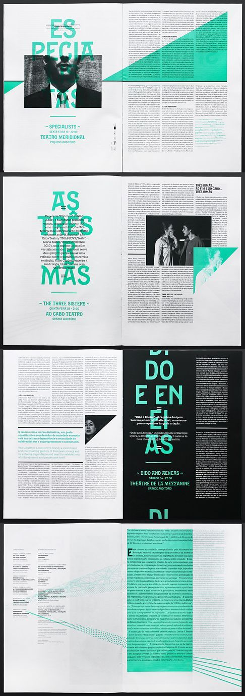 The pops of color are a huge attention grabber and also work as pull ins, the black ads a bit of sophistication but the blue really brightens up the page and ads a bit of fun throughout the spread. I really enjoy the triangle forms which pull viewers eyes into the text.